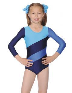 Justaucorps de gymnastique à manches longes à trois tons, jambes échancrées